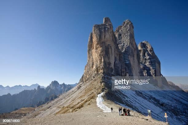 The Drei Zinnen Tre Cime di Lavaredo in South Tyrol Alto Adige The Drei Zinnen are one of the icons of the european alps and a major tourist...