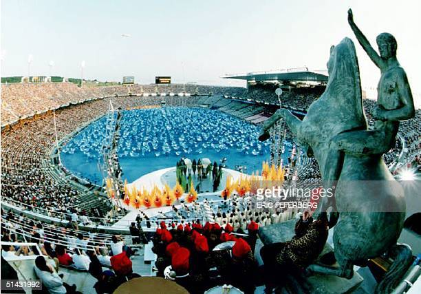 The dress rehearsal for the opening of the 25th Olympiade is performed 23 July 1992 at the Olympic Stadium in Barcelona The ceremony is scheduled for...