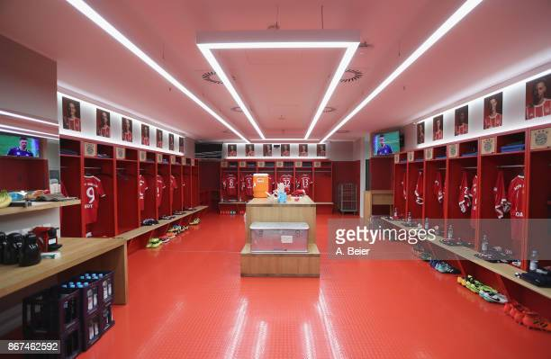 The dressing room of FC Bayern Muenchen is pictured before the Bundesliga match between FC Bayern Muenchen and RB Leipzig at Allianz Arena on October...