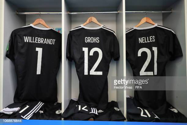 The dressing room of Germany team is pictured prior to the FIFA U17 Women's World Cup Uruguay 2018 group C match between Germany and Cameroon at...