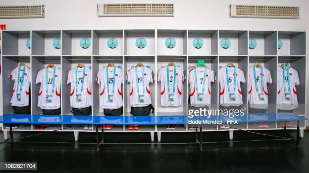 The dressing room of Korea DPR team is pictured prior to the FIFA U17 Women's World Cup Uruguay 2018 group C match between USA and Korea DPR at...