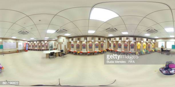 The dressing room of New Caledonia team is pictured prior to the FIFA U17 World Cup India 2017 group E match between Japan and New Caledonia at...