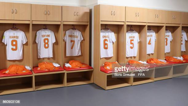 The dressing room of Niger is pictured prior to the FIFA U17 World Cup India 2017 group C match between Niger and Brazil at Pandit Jawaharlal Nehru...