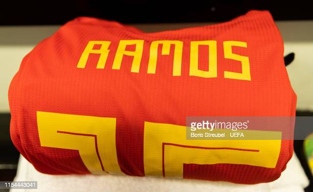 The dressing room of Spain is pictured prior to the UEFA Euro 2020 Qualifier Group F match between Faroe Islands and Spain at Torsvollur on June 07...