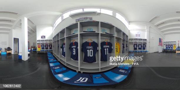 The dressing room of the United States team is pictured prior to the FIFA U17 Women's World Cup Uruguay 2018 group C match between USA and Korea DPR...