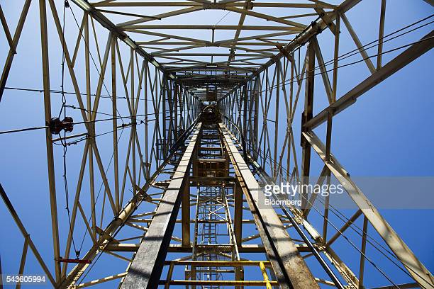 The drilling tower stnads on the Casablanca oil platform operated by Repsol SA in the Mediterranean Sea off the coast of Tarragona Spain on Tuesday...