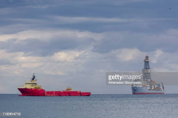 The drillship ENSCO DS7 on February 28 2019 in Limassol Cyprus Cyprus and ExxonMobil on 28th February 2019 announced a gas find estimated between 58...