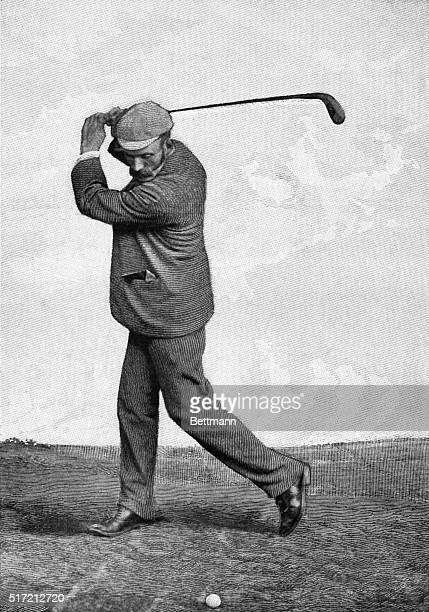 The drive- the top of the swing. Golfing. Undated illustration.