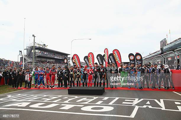 The drivers are seen on the grid prior to the Bathurst 1000 which is race 25 of the V8 Supercars Championship at Mount Panorama on October 11 2015 in...