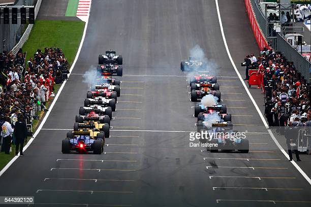 The drivers begin their parade lap before the Formula One Grand Prix of Austria at Red Bull Ring the home of Red Bull Racing on July 3, 2016 in...