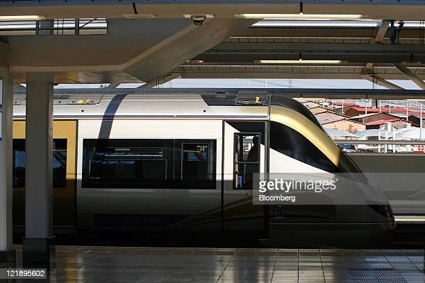The driver's cabin of a Gautrain locomotive waits at the platform at the Marlboro mass transit rail station in Johannesburg South Africa on Monday...
