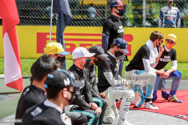 The drivers during the Fight Racism campaign during the Formula One Grand Prix of Styria at Red Bull Ring on July 12 2020 in Spielberg Austria