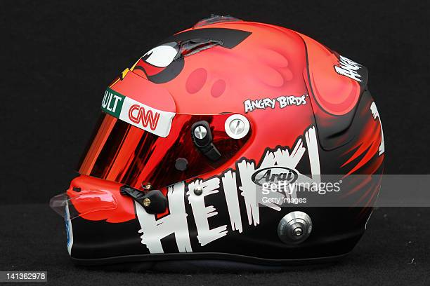 The drivers helmet of Heikki Kovalainen of Finland and Caterham is seen during previews to the Australian Formula One Grand Prix at the Albert Park...