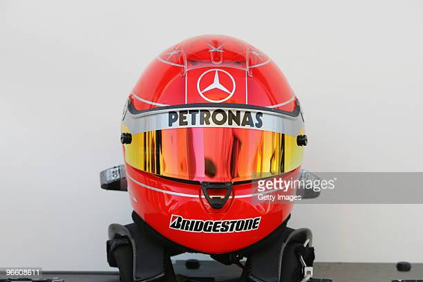 The drivers helmet of Michael Schumacher of Germany and Mercedes GP is seen during winter testing at the Circuito De Jerez on February 12 2010 in...