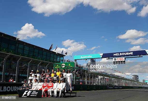 The drivers on the grid for the class of 2016 photo during the Australian Formula One Grand Prix at Albert Park on March 20 2016 in Melbourne...