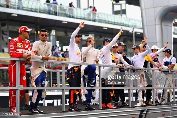 The drivers parade with Sebastian Vettel of Germany and Ferrari Pascal Wehrlein of Germany and Sauber F1 Daniel Ricciardo of Australia and Red Bull...