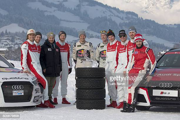 The drivers pose for a picture during the final day of the Audi Quattro #SuperQ on January 20 2016 in Kitzbuehel Austria