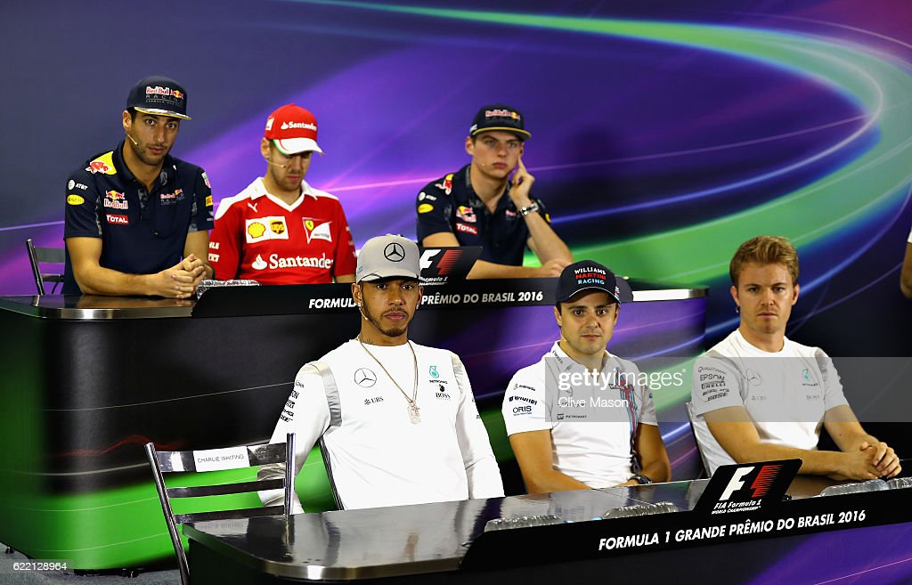 The Drivers Press Conference featuring (back row, left to right) Daniel Ricciardo of Australia and Red Bull Racing, Sebastian Vettel of Germany and Ferrari, Max Verstappen of Netherlands and Red Bull Racing (front row, left to right) Lewis Hamilton of Great Britain and Mercedes GP, Felipe Massa of Brazil and Williams and Nico Rosberg of Germany and Mercedes GP during previews for the Formula One Grand Prix of Brazil at Autodromo Jose Carlos Pace on November 10, 2016 in Sao Paulo, Brazil.