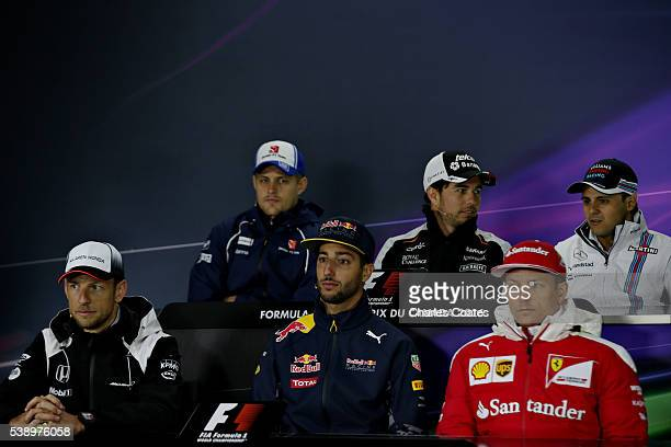 The Drivers Press Conference featuring Marcus Ericsson of Sweden and Sauber F1 Sergio Perez of Mexico and Force India Felipe Massa of Brazil and...