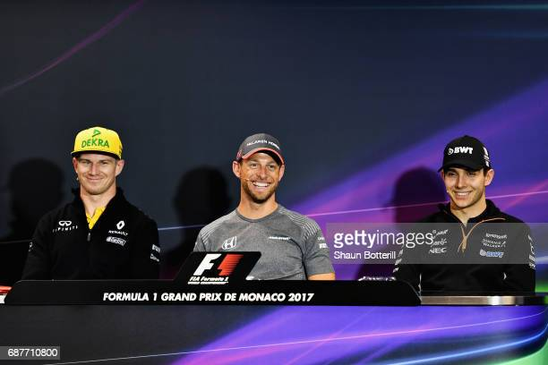 The Drivers Press Conference featuring Nico Hulkenberg of Germany and Renault Sport F1 Jenson Button of Great Britain and McLaren Honda and Esteban...