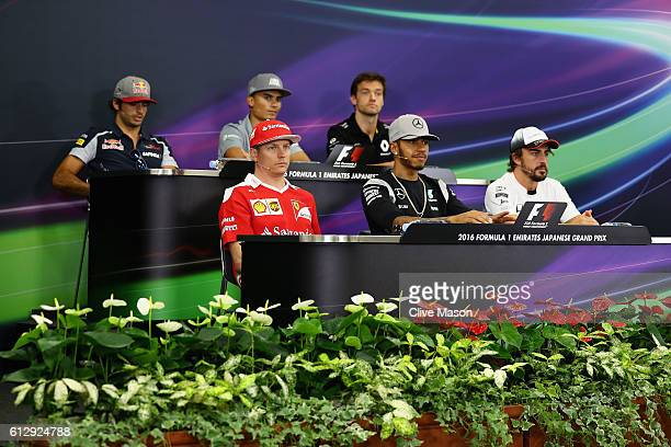 The Drivers Press Conference with Carlos Sainz of Spain and Scuderia Toro Rosso Pascal Wehrlein of Germany and Manor Racing Jolyon Palmer of Great...