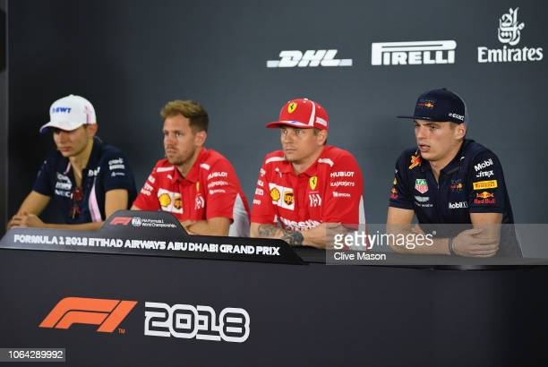 The Drivers Press Conference with Esteban Ocon of France and Force India Sebastian Vettel of Germany and Ferrari Kimi Raikkonen of Finland and...