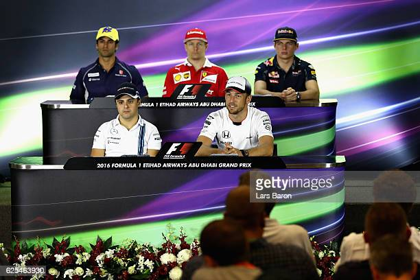 The Drivers Press Conference with Felipe Nasr of Brazil and Sauber F1 Kimi Raikkonen of Finland and Ferrari Max Verstappen of Netherlands and Red...