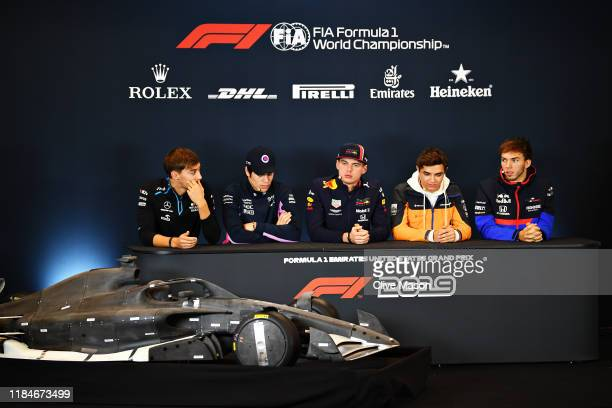 The Drivers Press Conference with George Russell of Great Britain and Williams Lance Stroll of Canada and Racing Point Max Verstappen of Netherlands...