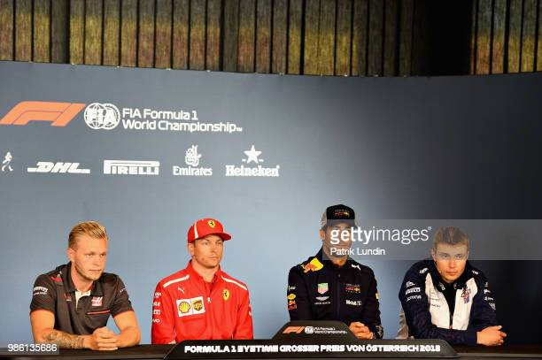 The Drivers Press Conference with Kevin Magnussen of Denmark and Haas F1 Kimi Raikkonen of Finland and Ferrari Daniel Ricciardo of Australia and Red...