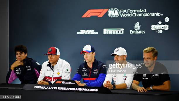 The Drivers Press Conference with Lance Stroll of Canada and Racing Point Kimi Raikkonen of Finland and Alfa Romeo Racing Daniil Kvyat of Russia and...