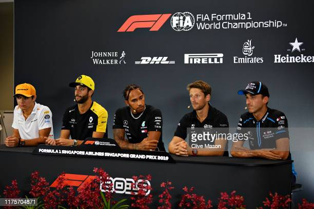 The Drivers Press Conference with Lando Norris of Great Britain and McLaren F1, Daniel Ricciardo of Australia and Renault Sport F1, Lewis Hamilton of...