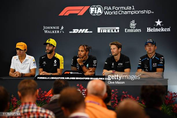 The Drivers Press Conference with Lando Norris of Great Britain and McLaren F1 Daniel Ricciardo of Australia and Renault Sport F1 Lewis Hamilton of...