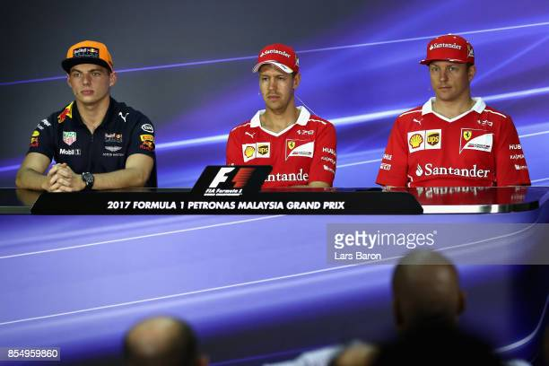 The Drivers Press Conference with Max Verstappen of Netherlands and Red Bull Racing Sebastian Vettel of Germany and Ferrari and Kimi Raikkonen of...