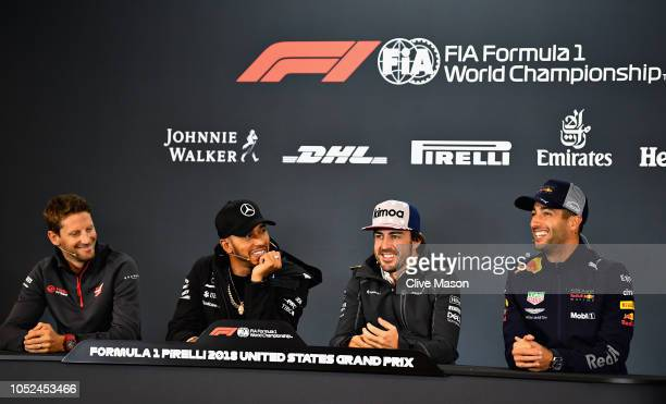 The Drivers Press Conference with Romain Grosjean of France and Haas F1, Lewis Hamilton of Great Britain and Mercedes GP, Fernando Alonso of Spain...