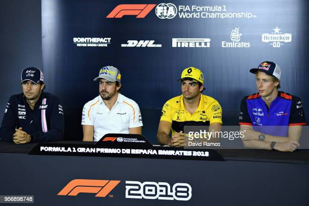 The Drivers Press Conference with Sergio Perez of Mexico and Force India Fernando Alonso of Spain and McLaren F1 Carlos Sainz of Spain and Renault...