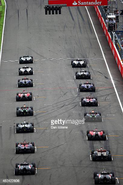 The drivers start the German Grand Prix at Hockenheimring on July 20 2014 in Hockenheim Germany
