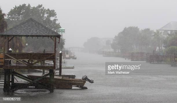 The driving rain from Hurricane Florence in the canals on the evacuated Pawleys Island on September 14 2018 in Pawleys Island South Carolina...