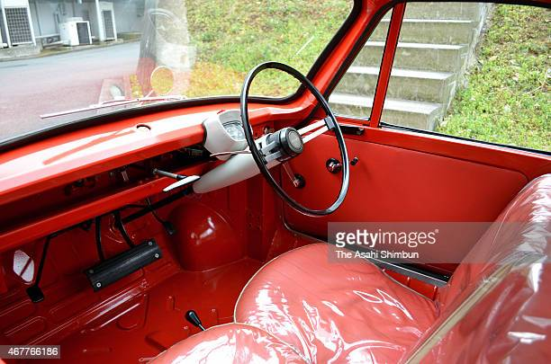 The driving seat of the 'Datsun Baby' at the Nissan Technical Center on March 14 2015 in Atsugi Kanagawa Japan The twoseater automatic car...