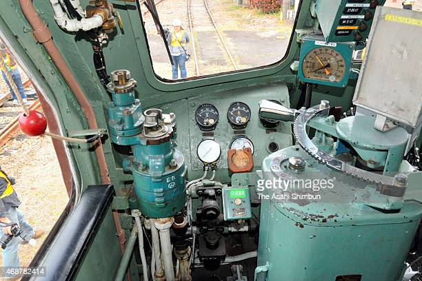 The driving seat of the electric locomotive 'EF55' is seen at the JR East Omiya Train Depot on April 12 2015 in Saitama Japan The locomotive produced...