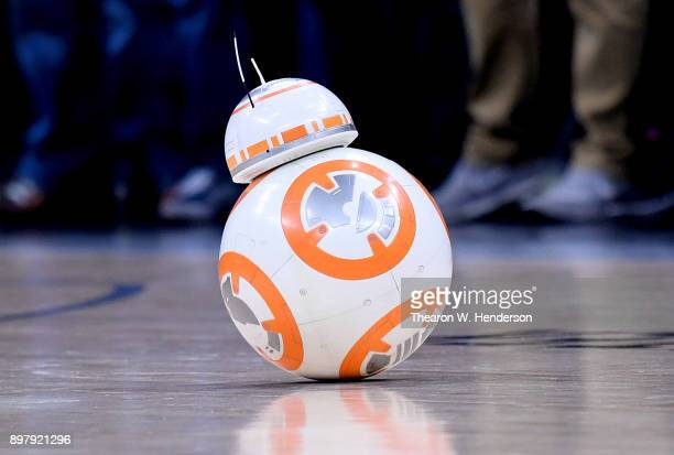 """The droid BB-8 from the Star Wars movie """"The Last Jeti"""" performs on the floor prior to the start of an NBA basketball game between the Sacramento..."""