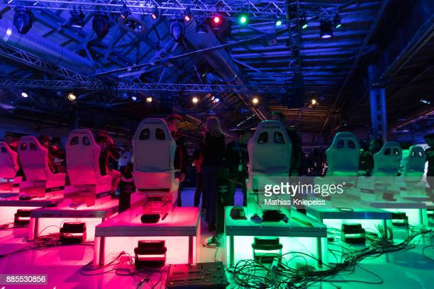 The drone pilots cockpits are seen at Station Berlin during the DCL Drone Champions League Championship Finals in Berlin on December 02 2017 in...
