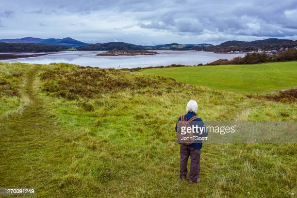 the drone view of a senior man standing alone on a path at the coast in dumfries and galloway, south west scotland - johnfscott stock pictures, royalty-free photos & images