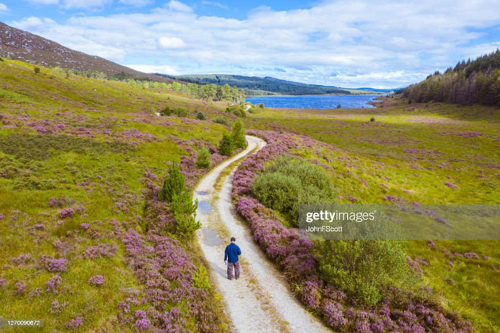 The drone view of an active senior man standing on a dirt road holding a map in a remote part of Dumfries and Galloway, south west Scotland : Stock Photo