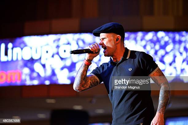 The Dropkick Murphys perform during UFC International Fight Week Free Concert at the Fremont Street Experience on July 10 2015 in Las Vegas Nevada