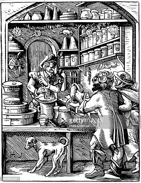 The Druggist's Shop 1568 The druggist is grinding down ingredients with a pestle and mortar Illustration by Jost Amman for his The Book of Trades