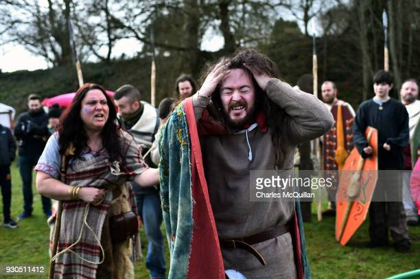 The druid Malachy played by Ciaron Davies interacts with Saint Patrick as the reenactment of Saint Patrick's first landing in Ireland takes place at...