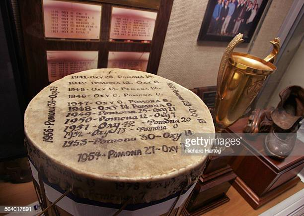 The Drum in sits in a case in the in the Roy Tennis Trophy Room at Occidental College Monday in Los Angeles October 16 2006 Occidental's rivalry with...