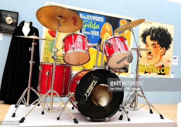 The drum kit used by Tony McCarroll used on the Oasis first album Definitely Maybe est pound120015000 at a preview for the Pop Culture auction at...