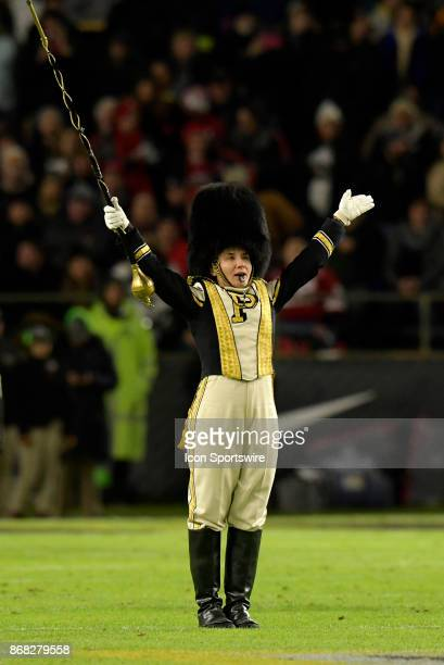 The Drum major for the Purdue Boilermakers leads the band onto the field during the Big Ten conference game between the Purdue Boilermakers and the...