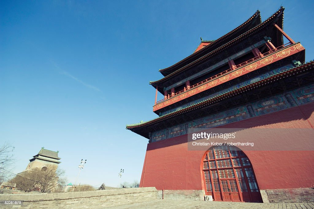 The Drum Tower, a later Ming dynasty version originally built in 1273 marking the centre of the old Mongol capital and Bell Tower, Beijing, China, Asia : Stock Photo